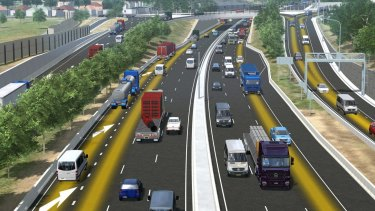 An artist's impression of WestConnex. The government is preparing to announce a contract has been signed for construction firms to build an early stage of the motorway.