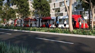 An artist's impression of the new Parramatta light line.