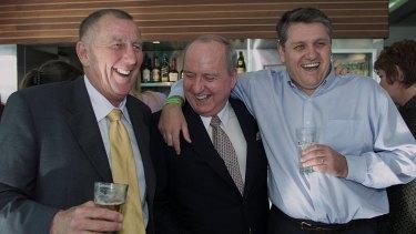 Happier times: John Singleton, Alan Jones and Ray Hadley.
