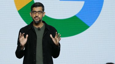 Google CEO Sundar Pichai speaks during a product event in San Francisco.