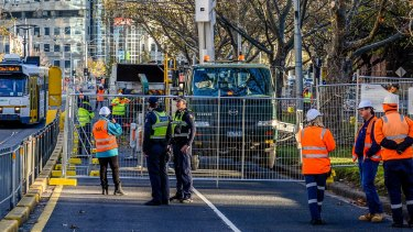 Tree removal on St Kilda Road for the construction of the Metro Rail Tunnel.