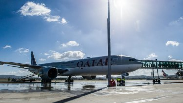 A Qatar Airways plane lands at Canberra international airport to launch the new daily service from Canberra to Doha