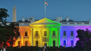 The White House lights up to mark last year's Supreme Court ruling legalising same-sex marriage.