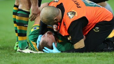 Dangerous territory: Front-rowers, such as England captain Dylan Hartley, are prime candidates for game-ending injuries.