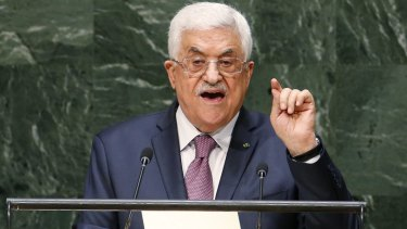 Palestinian President Mahmoud Abbass addresses the UN General Assembly.