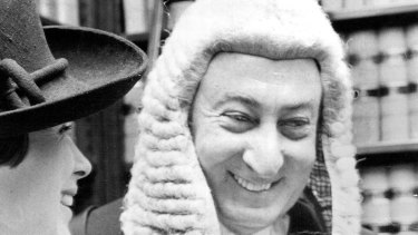 Senator Lionel Murphy been sworn in as judge at the High Court, Taylor Square, February 14, 1975.