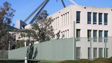 Fencing already surrounds the ministerial entrance at the back of Parliament House.