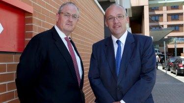 Opposition health spokesman Walt Secord, left, with opposition leader Luke Foley.