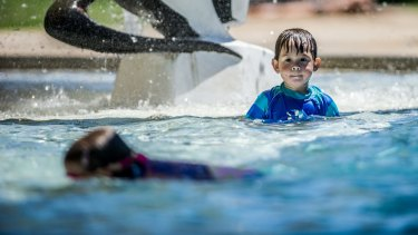 James Nathan, 2, of Portland, Victoria, plays at the Manuka Pool on Friday.