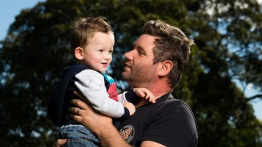 Brendon Cowie with his son, Ryan, whose mother died when he was five months old.