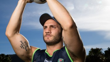 State pride: Blues hooker Robbie Farah with his State of Origin tattoo on his right arm, in Coffs Harbour.