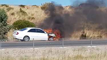 The fire in the engine compartment caused an estimated $8000 worth of damage.
