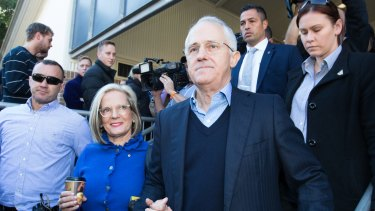 Prime Minister Malcolm Turnbull and wife Lucy after casting their votes in Sydney on Saturday.