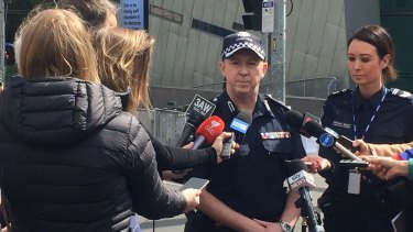 Victoria Police Acting Superintendent Wayne Newman talking to journalists.