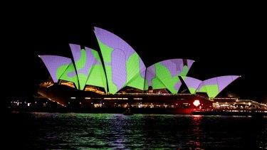 The Sydney Opera House lights up for Vivid 2015.