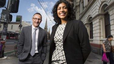 Moreland councillor Samantha Ratnam with Greens leader Richard Di Natale.