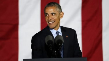 President Barack Obama addresses thousands during a Clinton campaign event at Independence Mall in Philadelphia on Monday.