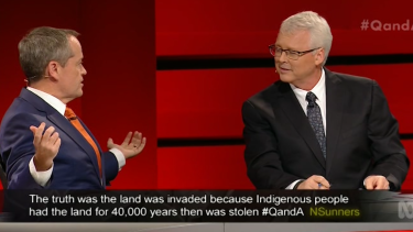 'I'm actually answering the question' ... Bill Shorten expresses his frustration with Q&A host Tony Jones.