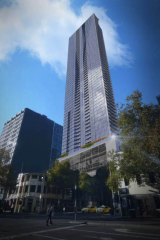 An artist's impression of Central Equity's proposed tower at 560 Lonsdale Street.