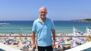 Malcolm Turnbull at North Bondi Surf Life Saving Club in Sydney.