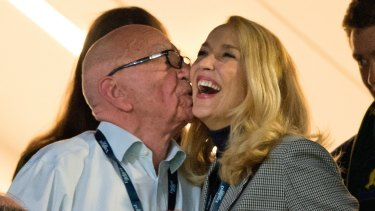 The happy couple: Rupert Murdoch and Jerry Hal declared their love late last year in the announcements pages of <i>The Times</i>.