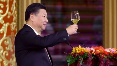 China's President Xi Jinping delivers a toast at a state dinner at the Great Hall of the People in Beijing.