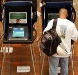 Electronic voting machines in Florida, USA, in 2004.
