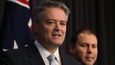 Finance Minister Mathias Cormann and Assistant Treasurer Josh Frydenberg on Thursday.