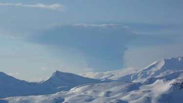 The Bogoslof volcano eruption plume as seen from Unalaska Island in Alaska.