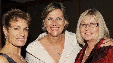 Rebecca Wilson, centre, died after a private battle with breast cancer. She is photographed here in 2009 with Marie Williams (left) and Mary Doherty (right) at a Westpac Rescue Helicopter fundraiser ball held at Crown Plaza.