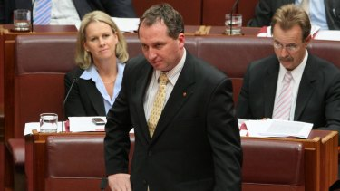 Barnaby Joyce in the Senate during question time on September 17, 2008.