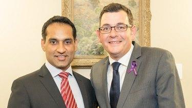 Jasvinder Sidhu and Premier Daniel Andrews.