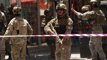 Security outside the Iraq embassy in Kabul.