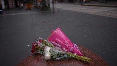 Flowers in the Bourke Street Mall.