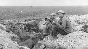 Meal time at a machine-gun post of the 5th Australian Machine Gun Battalion, Villers-Bretonneux plateau, France.