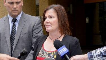 Caroline Lovell's mother, Jade Markiewicz, speaks outside the Coroners Court on Thursday.