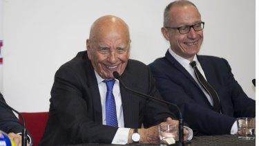Mike Fitzpatrick, Rupert Murdoch and News Corp's Robert Thompson last August.