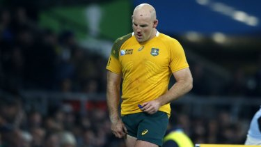 Australia's Stephen Moore leaves the field during the Rugby World Cup final between New Zealand and Australia at Twickenham Stadium, London, on Sunday.