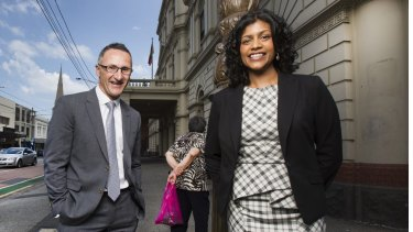 Greens candidate for Wills Samantha Ratnam with party leader Richard Di Natale.