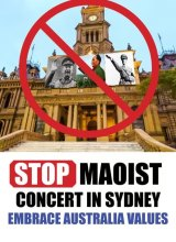 A flyer opposing the Mao commemoration at Sydney Town Hall.