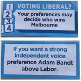 How to vote cards allegedly handed out by Greens supporters.