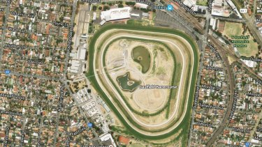 An aerial view of Caulfield Racetrack.