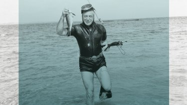 Sir Harold Holt spearfishing at Portsea, in Port Phillip Bay, Victoria shortly before his death.