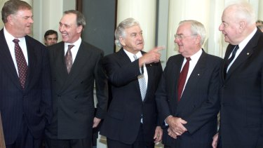 Former Labor leader Bill Hayden (second right) with (from left) Kim Beazley, Paul Keating, Bob Hawke and Gough Whitlam.