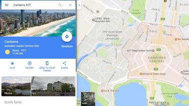 Those who typed 'Canberra' into Google Maps were met with an image of Surfers Paradise instead.