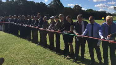The ribbon cutting ceremony for the Memorial Garden at Bressington Park on Friday.