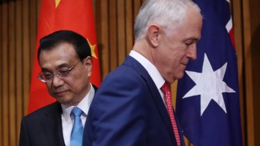 China's Premier, Li Keqiang, and Australian Prime Minister Malcolm Turnbull.