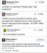 Tweets form users opposing vaccination in response to an article shared by The Washington Post.