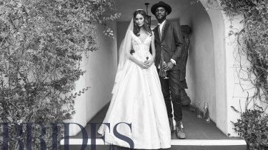 The Perth model and Texan blues musician said their 'I dos' on Tuesday at the Colony Palms Hotel in Palm Springs, California.