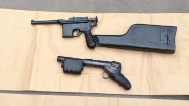 Some of the home-made firearms seized by police after raids in 2015.
